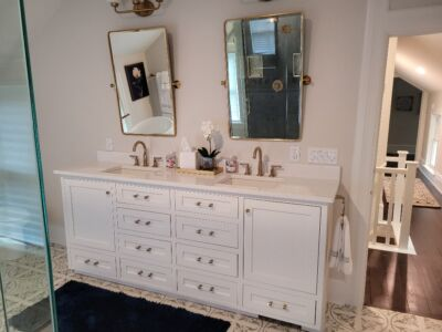 Custom Built Painted Vanity with Inset Doors