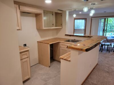 Custom Made Butcher Block Counter Tops with Custom made Live Edge Pine Counter Tops