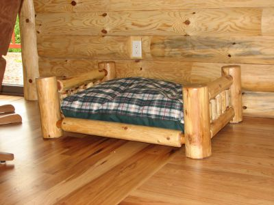 Custom made Cedar Log Dog Bed
